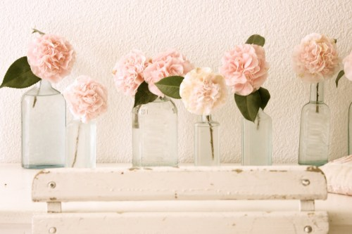 peony flowers in glass jars, peonies, vintage jars, wedding styling ideas,
