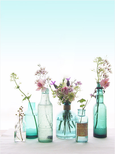 sea glass, vintage glass bottles wild flowers