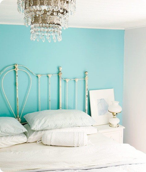beautiful bedhead, aqua wall, white