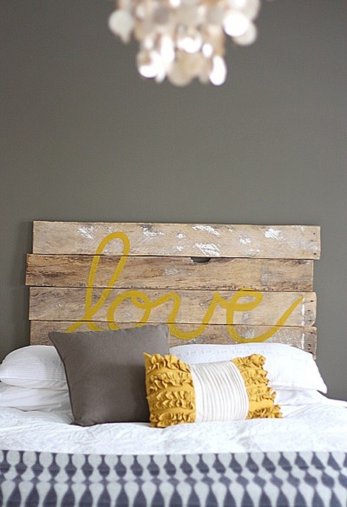 beautiful wooden headboard, love headboard, creative home decor